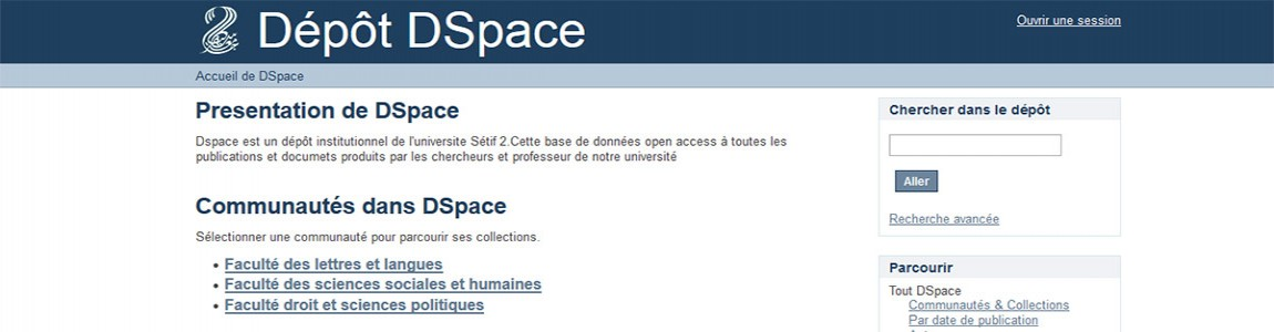 University Setif 2 Dspace Data Base